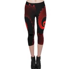 Red Fractal Spiral Capri Leggings