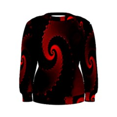 Red Fractal Spiral Women s Sweatshirt