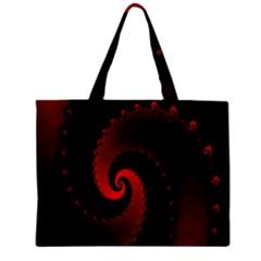 Red Fractal Spiral Zipper Mini Tote Bag