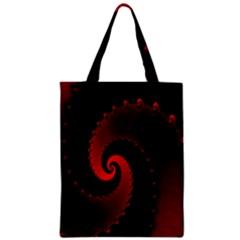 Red Fractal Spiral Zipper Classic Tote Bag