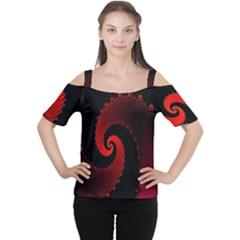 Red Fractal Spiral Women s Cutout Shoulder Tee
