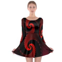 Red Fractal Spiral Long Sleeve Skater Dress