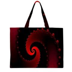 Red Fractal Spiral Large Tote Bag