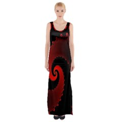 Red Fractal Spiral Maxi Thigh Split Dress