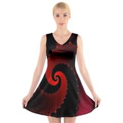 Red Fractal Spiral V Neck Sleeveless Skater Dress