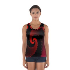 Red Fractal Spiral Women s Sport Tank Top