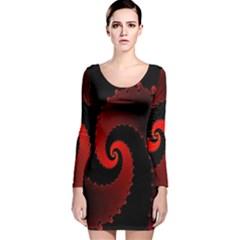 Red Fractal Spiral Long Sleeve Velvet Bodycon Dress