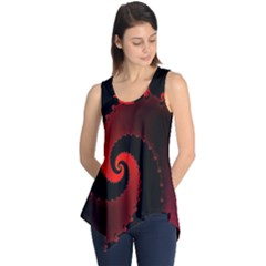 Red Fractal Spiral Sleeveless Tunic