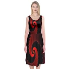 Red Fractal Spiral Midi Sleeveless Dress