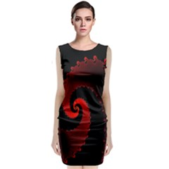 Red Fractal Spiral Classic Sleeveless Midi Dress