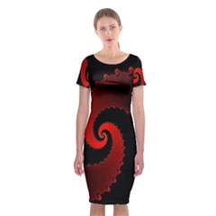Red Fractal Spiral Classic Short Sleeve Midi Dress