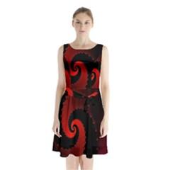 Red Fractal Spiral Sleeveless Chiffon Waist Tie Dress