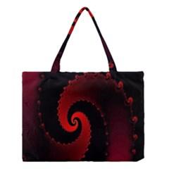 Red Fractal Spiral Medium Tote Bag