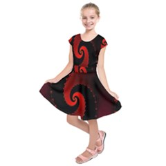 Red Fractal Spiral Kids  Short Sleeve Dress