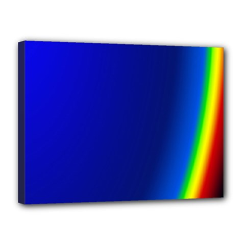 Blue Wallpaper With Rainbow Canvas 16  x 12