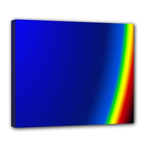 Blue Wallpaper With Rainbow Deluxe Canvas 24  X 20