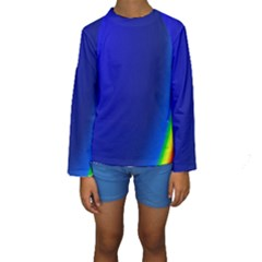 Blue Wallpaper With Rainbow Kids  Long Sleeve Swimwear