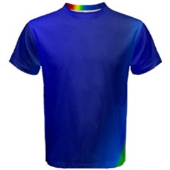 Blue Wallpaper With Rainbow Men s Cotton Tee