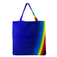 Blue Wallpaper With Rainbow Grocery Tote Bag