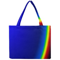 Blue Wallpaper With Rainbow Mini Tote Bag