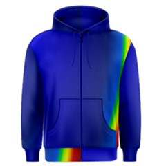 Blue Wallpaper With Rainbow Men s Zipper Hoodie