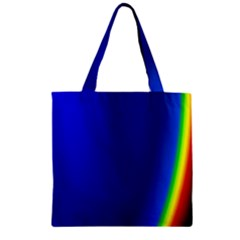Blue Wallpaper With Rainbow Zipper Grocery Tote Bag