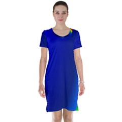 Blue Wallpaper With Rainbow Short Sleeve Nightdress