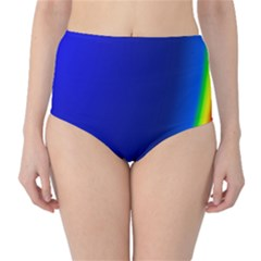 Blue Wallpaper With Rainbow High-Waist Bikini Bottoms