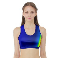 Blue Wallpaper With Rainbow Sports Bra With Border