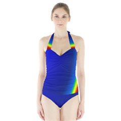 Blue Wallpaper With Rainbow Halter Swimsuit
