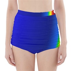 Blue Wallpaper With Rainbow High Waisted Bikini Bottoms