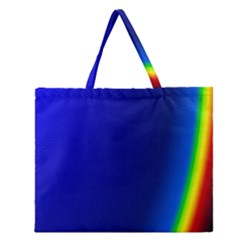 Blue Wallpaper With Rainbow Zipper Large Tote Bag