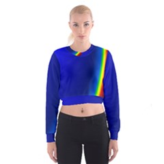 Blue Wallpaper With Rainbow Cropped Sweatshirt