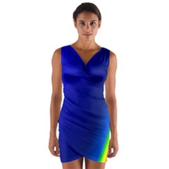 Blue Wallpaper With Rainbow Wrap Front Bodycon Dress
