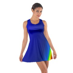 Blue Wallpaper With Rainbow Cotton Racerback Dress