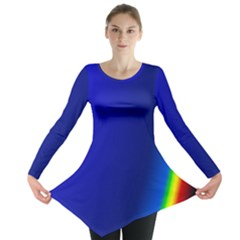Blue Wallpaper With Rainbow Long Sleeve Tunic