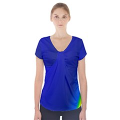 Blue Wallpaper With Rainbow Short Sleeve Front Detail Top