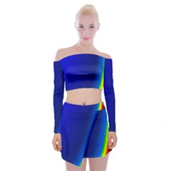 Blue Wallpaper With Rainbow Off Shoulder Top With Skirt Set