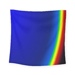Blue Wallpaper With Rainbow Square Tapestry (small)