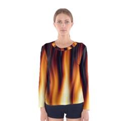 Dark Flame Pattern Women s Long Sleeve Tee