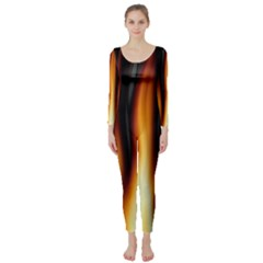 Dark Flame Pattern Long Sleeve Catsuit