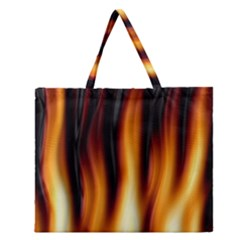 Dark Flame Pattern Zipper Large Tote Bag