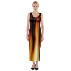 Dark Flame Pattern Fitted Maxi Dress