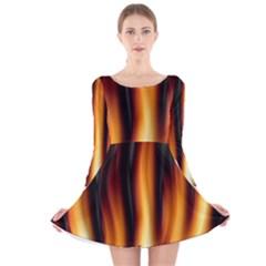 Dark Flame Pattern Long Sleeve Velvet Skater Dress