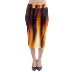 Dark Flame Pattern Midi Pencil Skirt