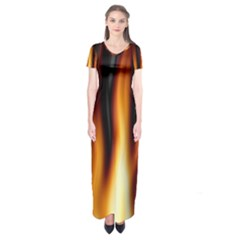 Dark Flame Pattern Short Sleeve Maxi Dress