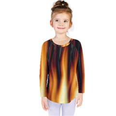 Dark Flame Pattern Kids  Long Sleeve Tee