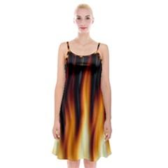 Dark Flame Pattern Spaghetti Strap Velvet Dress