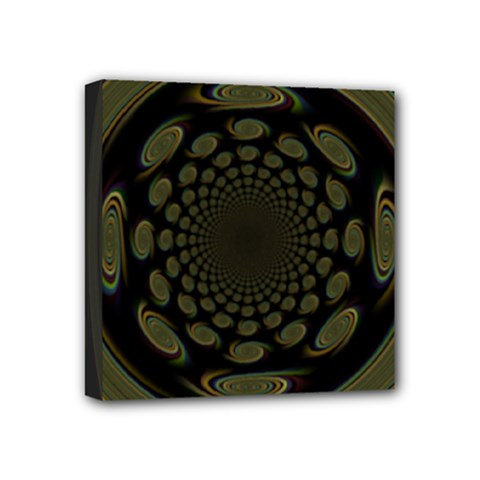 Dark Portal Fractal Esque Background Mini Canvas 4  X 4