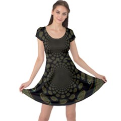Dark Portal Fractal Esque Background Cap Sleeve Dresses